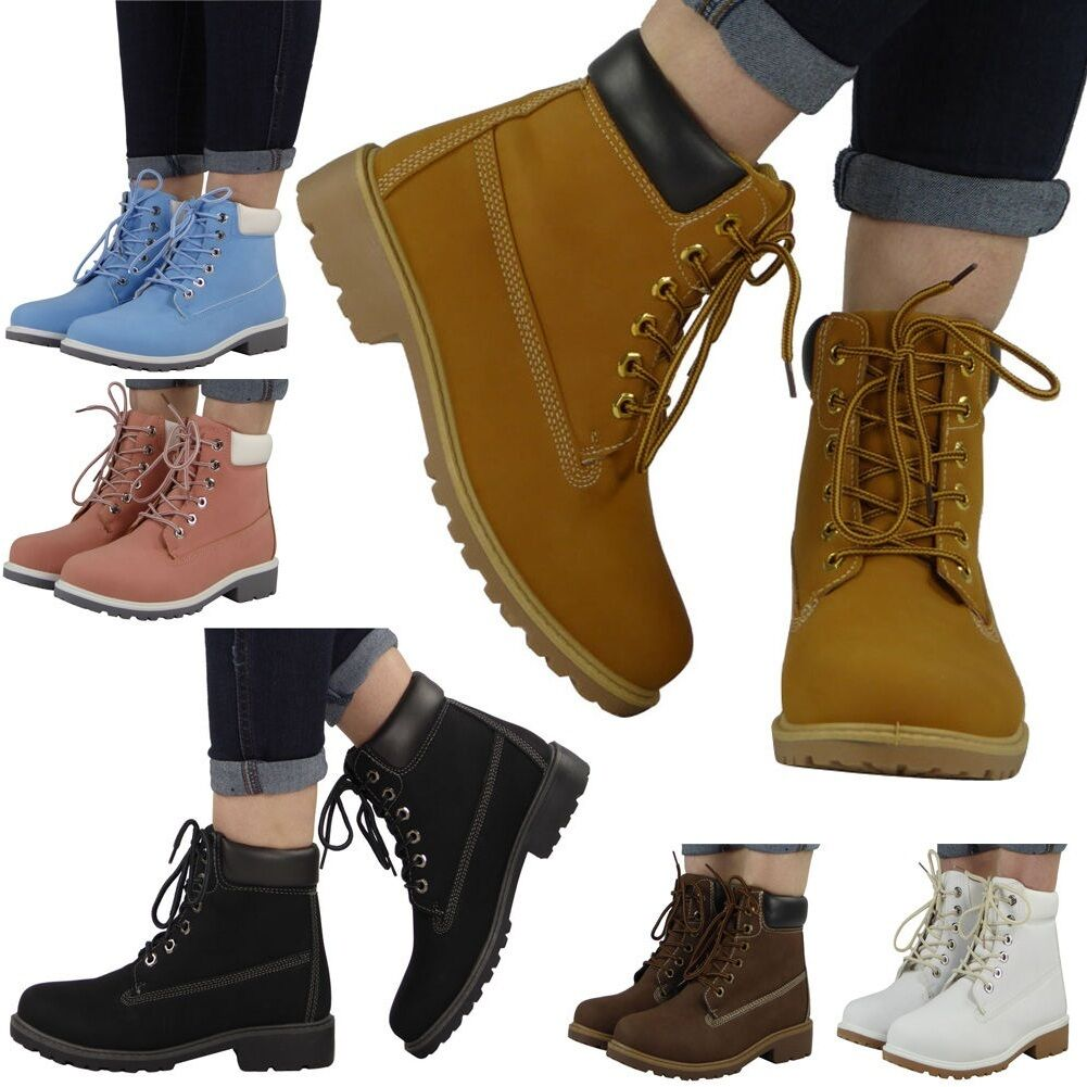 NEW WOMENS LADIES LACE UP MILITARY WORKER LOW FLAT HEEL ANKLE BOOTS SHOES SIZE