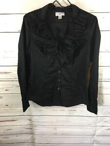 3ae67729 Ann Taylor Loft Women's Size 4 Black Lace Ruffle Front Button Long ...