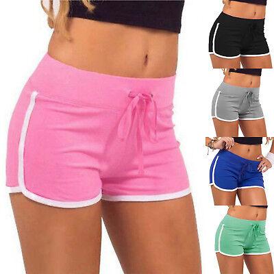 Damen High Waist Shorts Hotpants Kurze Hose Sommer Sporthosen Hotpants Jogging S