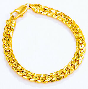 18k-Yellow-Gold-8-1-4-034-8-25-034-Mens-Wide-8mm-Cuban-Curb-Link-Chain-Bracelet-D787