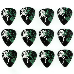 12-Pack-Guitar-Picks-SPIDER-BLACK-WIDOW-White-Body-Medium-Gauge-Pick-Creepy-Cool