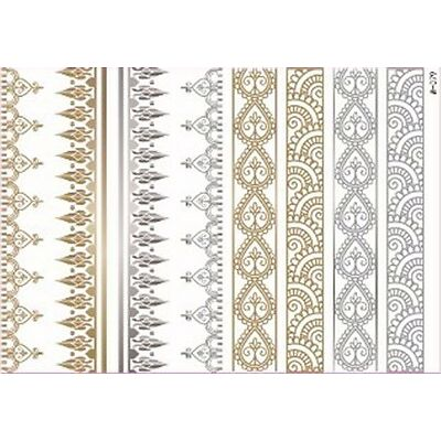 Temporary Flash Einmal Tattoo Classic gold silber 8-teilig Armband Kette NEU WOW