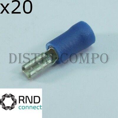 lot de 20 Cosse isolée coudée plate 6.3x0.8mm rouge RND Connect