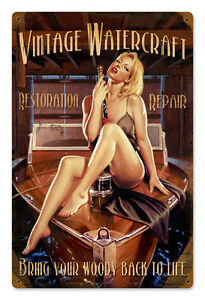 Woody-Boating-Hildebrandt-Vintage-Metal-Sign-Pinup-Art-Sexy-SIGNED-FREE-PRINT