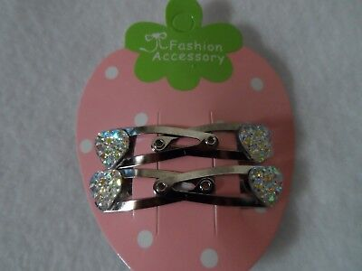 mini hair clips,girls//baby hair clips hair slides snap clips sparkle hearts 8pcs