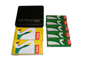 ROLLING-MACHINE-TIN-5-SWAN-CIGARETTE-PAPERS-2-PACKS-OF-EXTRA-SLIM-SWAN-FILTERS