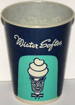 Vintage paper cup MISTER SOFTEE with cartoon cone pictured unused new old stock