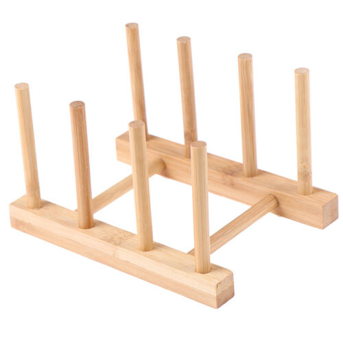 Bamboo Dish Rack Dishes Drying Drainer Storage Kitchen Cabinet Organizer/_vi
