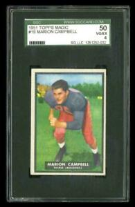 Rare 1951 Topps Magic #19 Marion Campbell Football Rookie RC Card SGC 50/4 VG-EX
