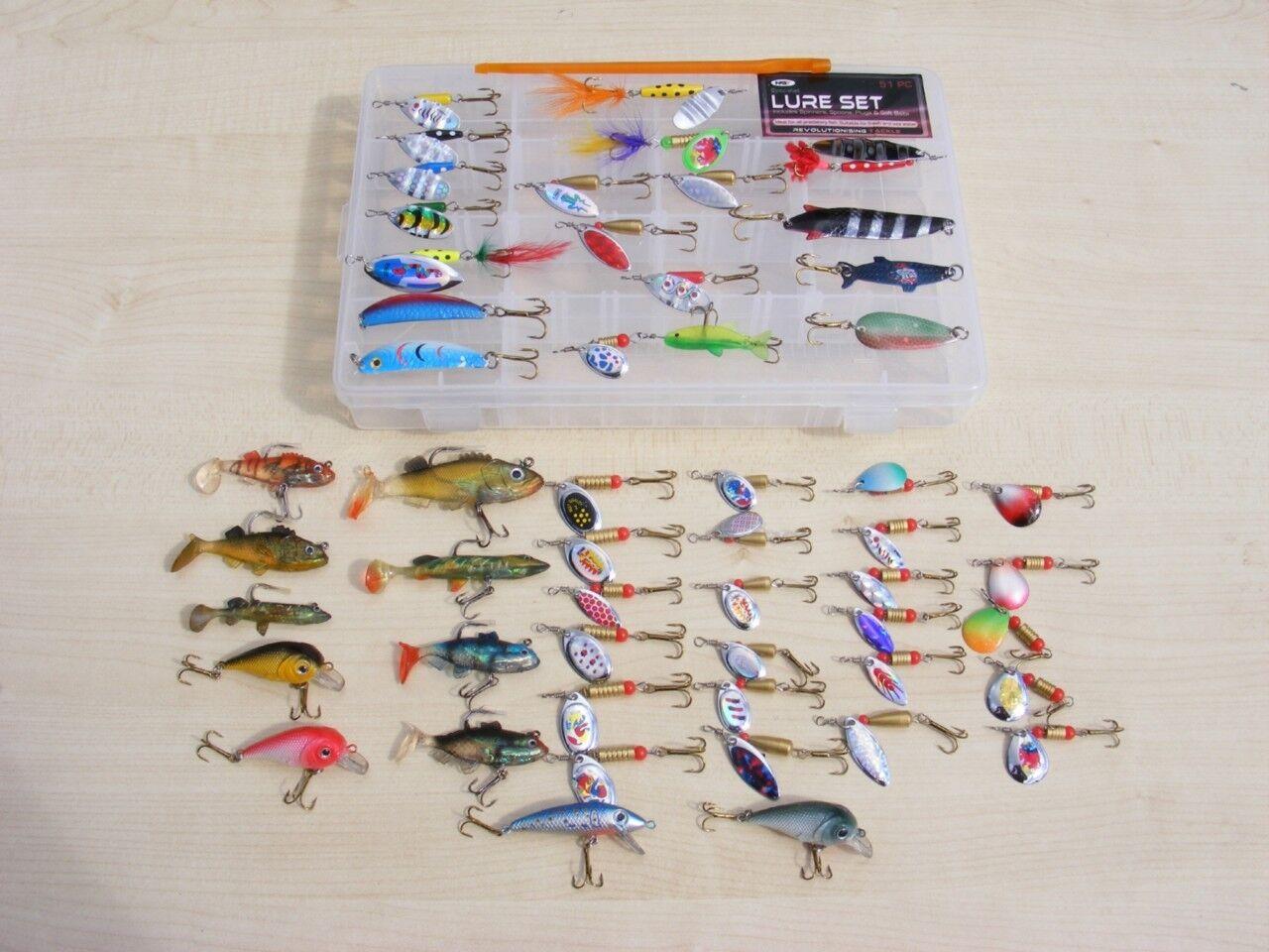 New 53Pc Fishing Lure Set Spinners, Plugs, Soft Baits 4 Perch,Trout, Pike Chubb