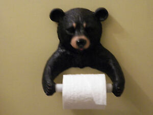 New Black Bear Wildlife Toilet Paper Holder Wall Mount