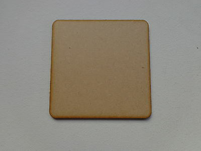 Pack 24 Blank Coaster / Squares 3mm Wooden MDF 100mm x 100mm with Round Corners