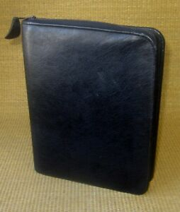 Classic-1-125-034-Rings-Black-LEATHER-FRANKLIN-COVEY-Quest-ZIP-Planner-Binder-USA