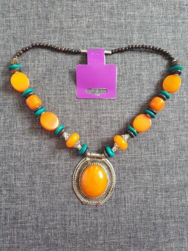 Bisutería India étnico naranja Collar Con Colgante