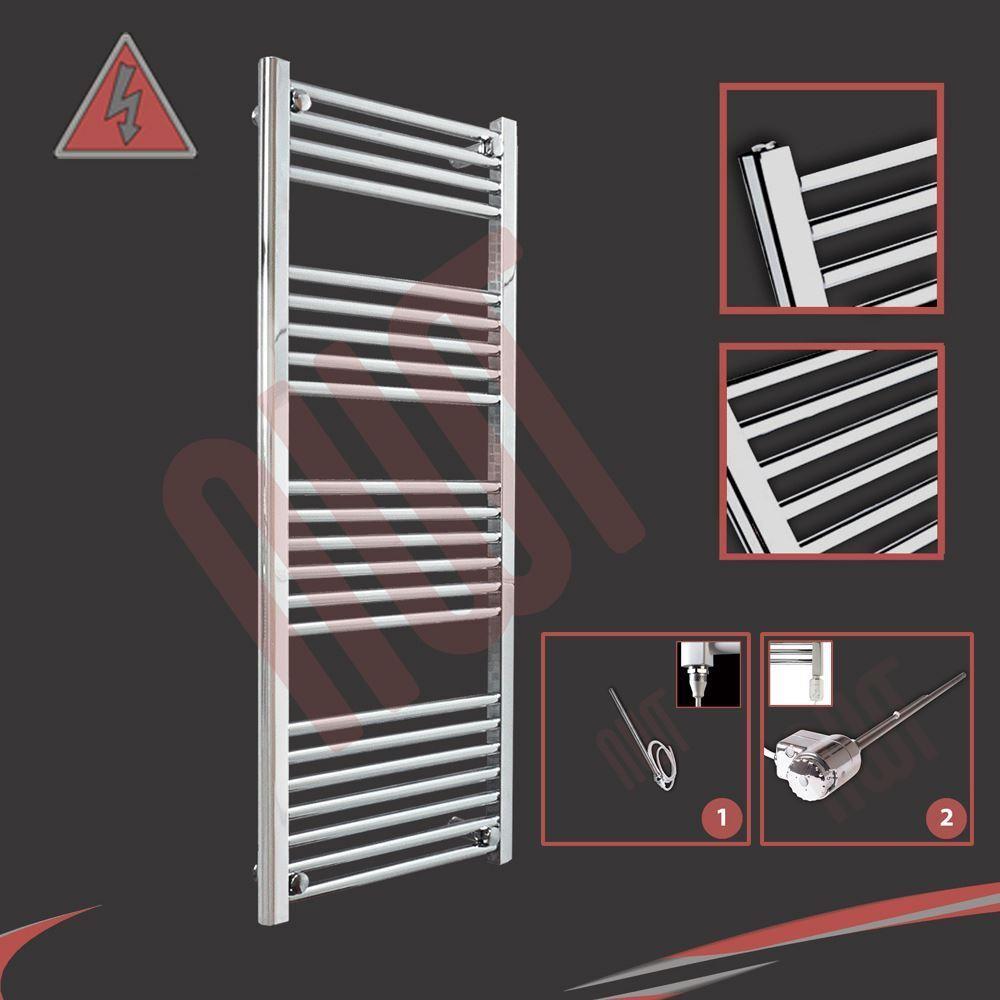500mm (l) x 1 200 mm (h) préremplie électrique droite porte-serviettes chrome - 300 W