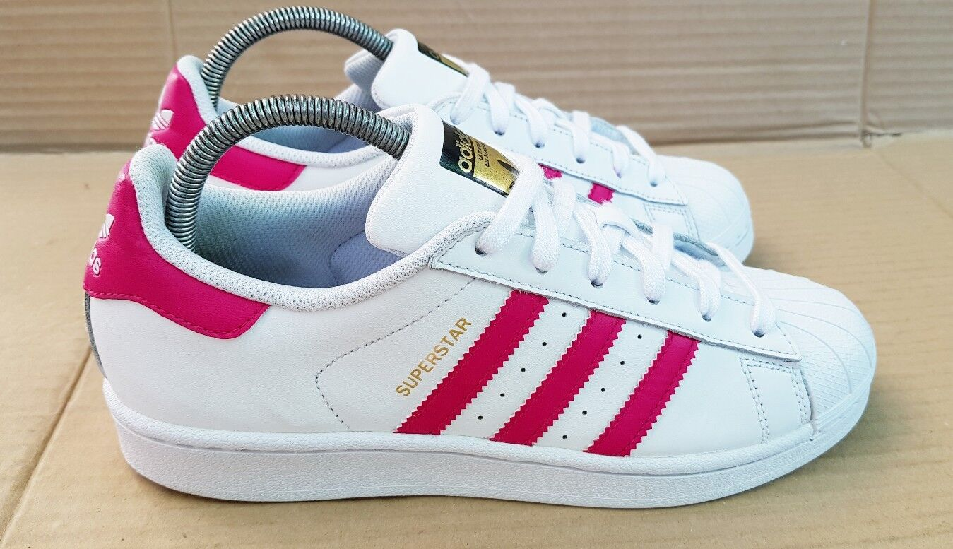 ADIDAS SUPERSTAR SHELL TOE Blanc & Rose TRAINERS Taille 5Doré LOGO EXCELLENT