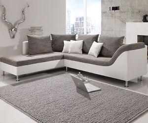 Ecksofa Philip Wohnlandschaft Couch Sofa Mit Ottomane Links Weiss