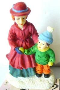 Walking with Mother in the Christmas Victorian Village Figurine Decoration