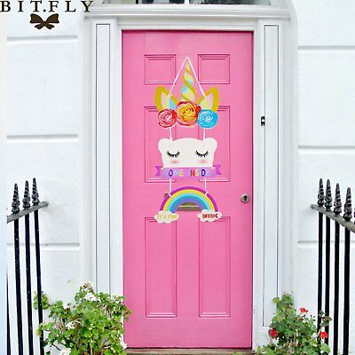 Unicorn Door Sign Wall Hanging Rainbow Bedroom Diy Decoration
