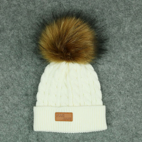 Kids Baby pom pom in pelliccia inverno a maglia ritorta Warm Hat Cap Beanie Ragazzi Ragazze