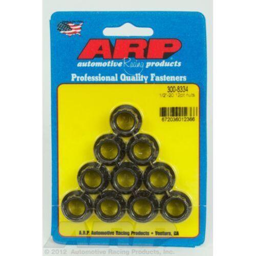 ARP 300-8334 Nut Kit 1//2-20 Thread Side 12 Point Nut Style Black Set of 10