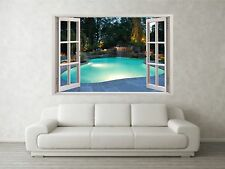 Private Pool Scene 3D Full Colour Window Home Wall Art Stickers Mural Decal