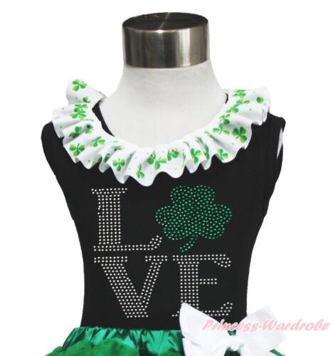 Lacing Black Top St Patrick/'s Day Rhinestone Clover Hat Love Print Shirt NB-10Y