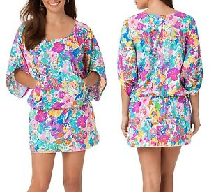 Anne-Cole-Cover-up-Beach-Mini-Dress-Pink-Floral-98-NWT-S-Small-M-Medium-6-8-10