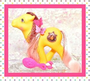 My-Little-Pony-MLP-G1-1987-Vtg-Princess-Ponies-MOONDUST-Tinsel-Yellow-JEWEL