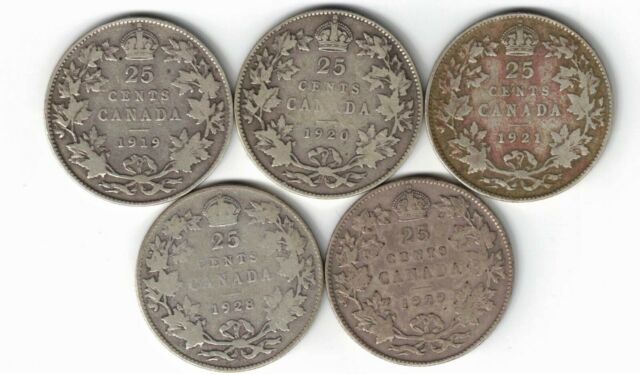 5 X CANADA 25 CENTS QUARTERS KING GEORGE V SILVER COINS 1919 1920 1921 1928 1929