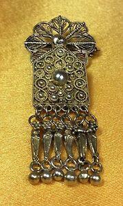Vintage-Antique-925-Fine-Sterling-Silver-Filigree-Brooch-Pin