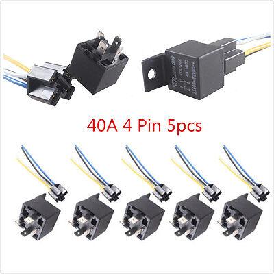 5PCS Car Vehicle Truck Auto 12V 40A 40 A SPST Relay /& 5PCS Socket 4Pin 4P 4 Wire