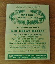 ~RARE~ 1962 University of OREGON DUCKS Track & Field CARDBOARD SCHEDULE-SIGN