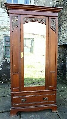 Armoires/wardrobes Alert Edwardian Art Nouveau/style Mahogany Single Wardrobe 100% Original