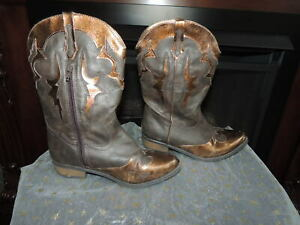 Brown/Bronze Cowboy Cowgirl Boots