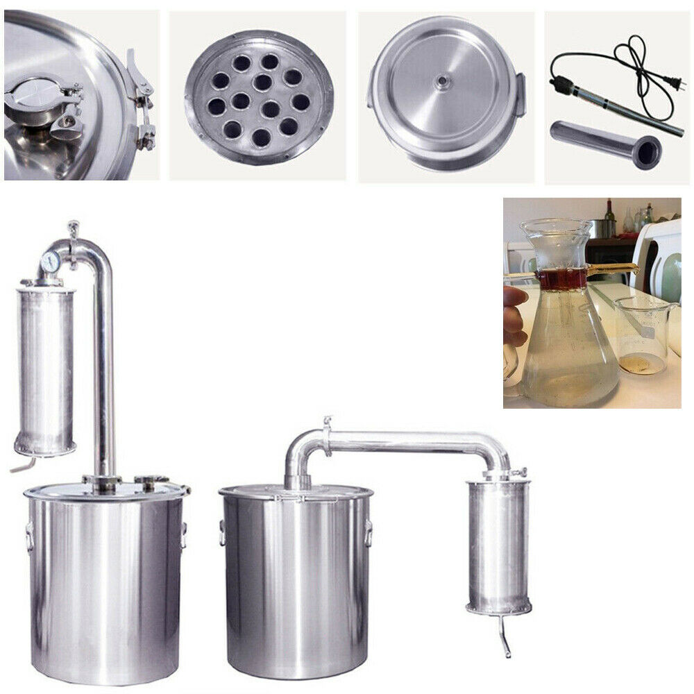 30L-150L Distillateur Alambic Inox Thermomètre Eau Alcool Huile Brassage Pur DIY
