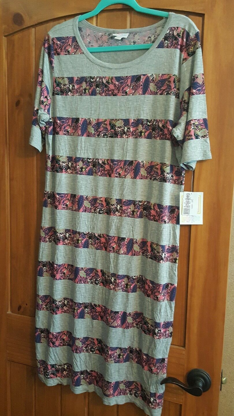 Lularoe new Paisley Floral Grey Pink Stripe Julia Pencil Dress 3XL Unicorn