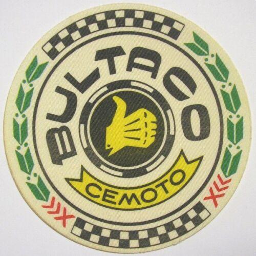 VECCHIO ADESIVO MOTO in materiale telato / Old Sticker Vintage BULTACO (cm 8,5)