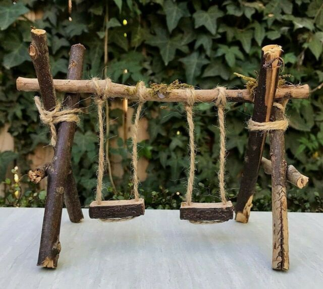 Miniature Dollhouse Fairy Garden Furniture Large Wood Twig Swing Set With Moss For Sale Online Ebay