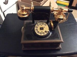 VINTAGE FRENCH STYLE DECO-TEL GTE ROTARY DIAL TELEPHONE BLACK, BRASS, FAUX WOOD