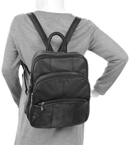 Women/'s Leather Triple Zip Around Black Backpack Handbag