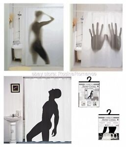 Image Is Loading Novelty Shower Curtain Silhouette Naked Sexy Woman Man