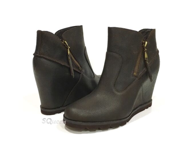 293b28012a7 UGG 1008715 Myrna Wedge Ankle BOOTS Brown Lodge Leather US Size 9 -new