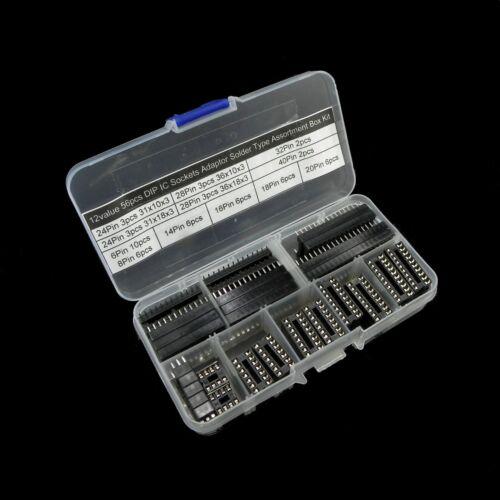 12 valeur 56pcs DIP IC Sockets Adaptor Solder Type Boîte Assortiment Kit