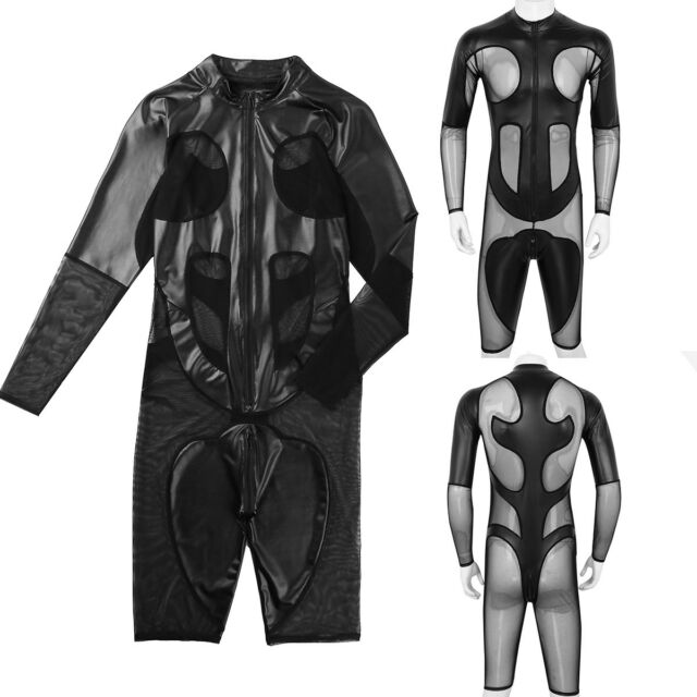Mens Leather Catsuit Costume Boxer Shorts Leotard Bodysuit Jumpsuit Clubwear