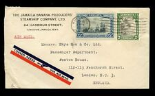 JAMAICA 1935 BANANA PRODUCERS STEAMSHIP CO AIRMAIL 6d SHIPS + 2d to KAYE + SON