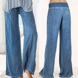 Pantalones Jeans Para Mujeres De Verano Mono Pantalones Sueltos Pantalones De Pierna Ancha Correas Denim Ebay