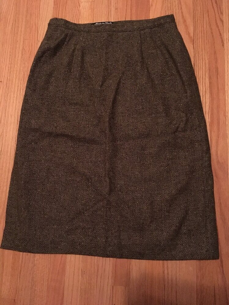 Valentino Green Tweed Wool Blend A-line Skirt, Size 42