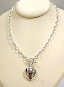 16-5-034-42cm-925-Sterling-Silver-1mm-Thick-Cable-Chain-HEART-Charm-Toggle-NECKLACE