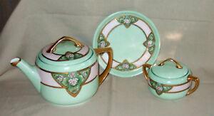 Details about MZ Austria Moritz Zdekauer Porcelain Teapot, Sugar & Trivet  Celadon Floral